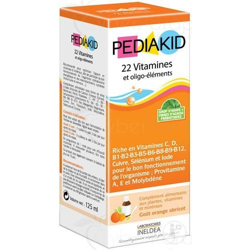 PEDIAKID 22 AND TRACE ELEMENTS, syrup, food supplement with herbs, vitamins and minerals. - Fl 125 ml