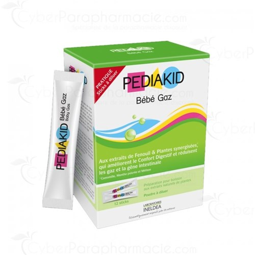 PEDIAKID BABY GAS WITH NATURAL EXTRACTS OF PLANTS X12 STICKS