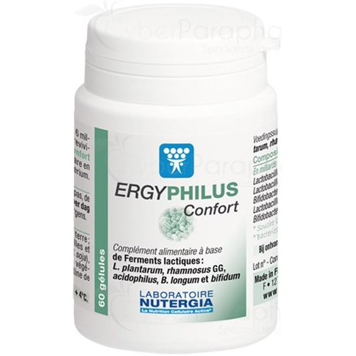 ERGYPHILUS COMFORT food supplement containing 5 strains of lactic acid bacteria Viable dosed at 6 billion per capsule 60gélules