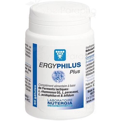 ERGYPHILUS PLUS Food supplement made from 4 strains of lactic acid bacteria Viable dosed at 6 billion per capsule 30gélules