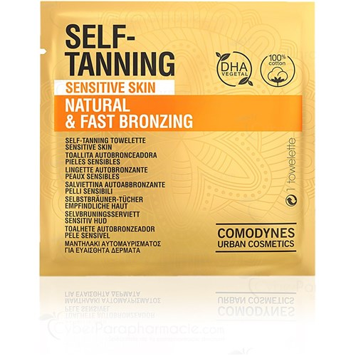COMODYNES, self-tanning wipes, natural and uniform color, box of 8 wipes