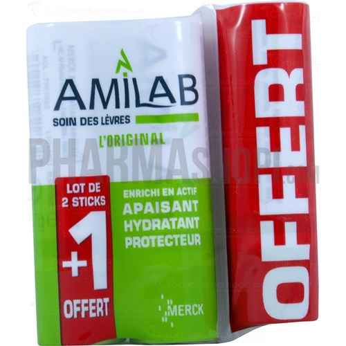 Amilab CARE LIP 2 + 1 GRATIS, Balm lip 3.6 ml x 3 stick