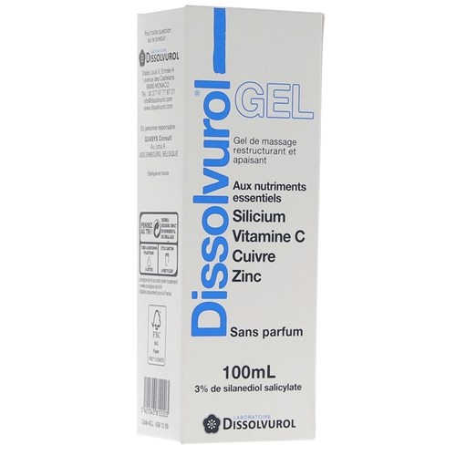 DISSOLVUROL GEL Massage Gel 3% silicon and essential nutrients. - Tube 100 ml