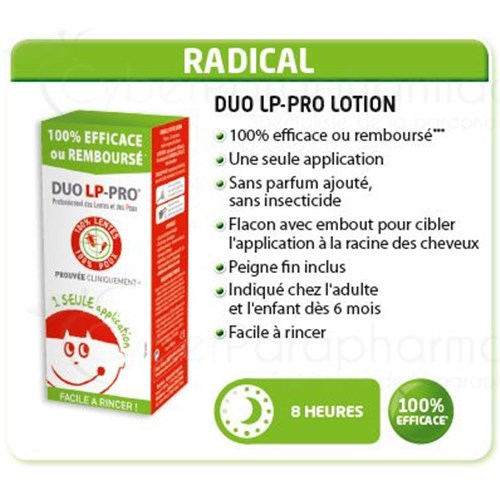DUO LP PRO, Anti-Lice and Nits, 100% radical, 150ml lotion + COMB