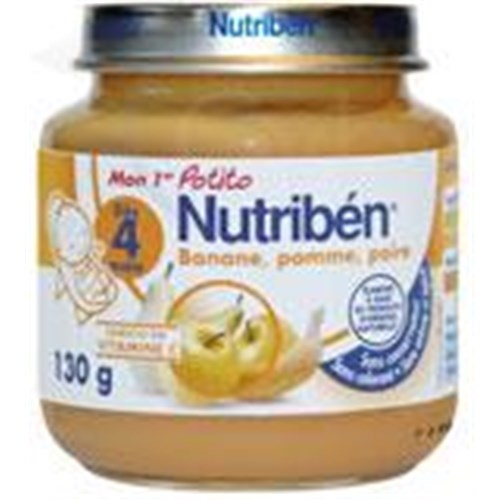 Nutriben MY 1ST POTITO FRUITS, Potty banana - apple - pear. - 130 g pot